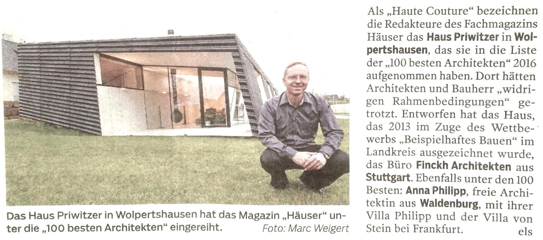 haus P – die 100 beste architekten – haller tagblatt november 2016